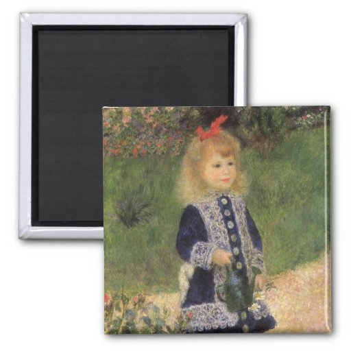 Girl with Watering Can, Renoir, Impressionism Art Refrigerator Magnets