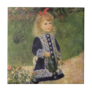 Girl with Watering Can, Renoir, Impressionism Art Small Square Tile