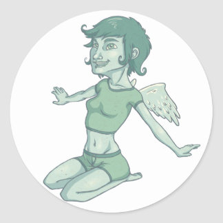 Girl With Wings Classic Round Sticker