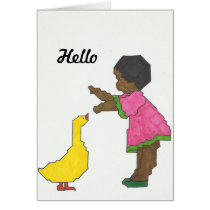 Girl With Yellow Duck Greeting Card