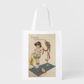 Girl with Yellow Hat and Chick Reusable Grocery Bag