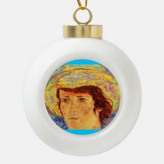girl with yellow straw hat ceramic ball christmas ornament