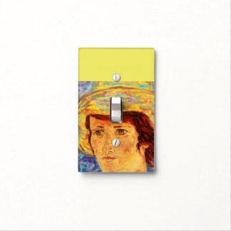 girl with yellow straw hat light switch cover