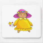 Girl With Yellow Sundress and Flowers Mouse Pad