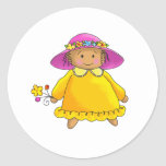 Girl With Yellow Sundress and Flowers Classic Round Sticker