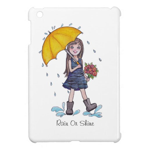 Girl With Yellow Umbrella In Watercolor Case For The iPad Mini