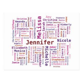 Girl / Woman Names Word Cloud - Pink Orange Colors Postcard