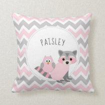 Girl Woodland animal bedroom decor   name Throw Pillow
