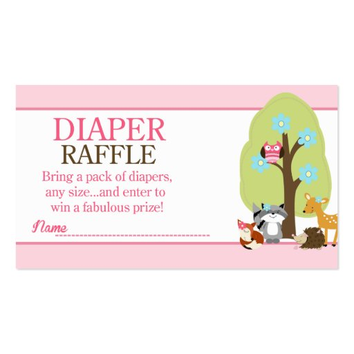 Girl Woodland Animals Baby Shower Diaper Raffle Double-Sided Standard ...