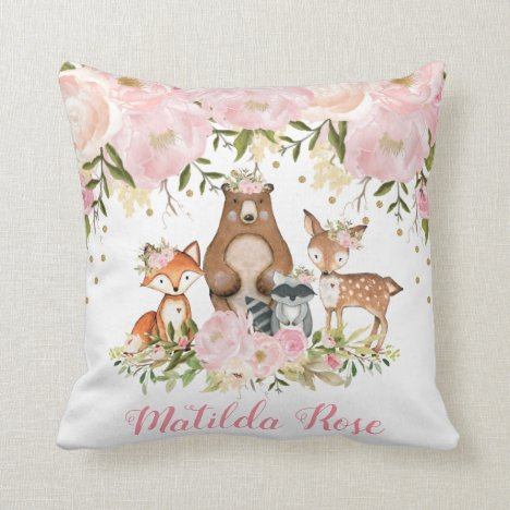 Girl Woodland Animals Forest Girl Nursery Decor Throw Pillow