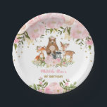 "Girl Woodland Animals Pink Floral Forest Birthday Paper Plate<br><div class=""desc"">Feminine woodland themed disposable party plate featuring pastel pink &amp; blush watercolor peonies and a group of adorable forest animals</div>"