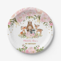 Girl Woodland Animals Pink Floral Forest Birthday Paper Plate