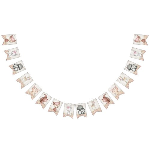 Girl Woodland Baby Shower Bunting Flags