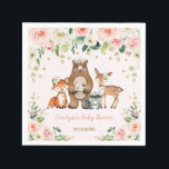 "Girl Woodland Baby Shower Forest Animals Birthday Napkin<br><div class=""desc"">This girly design features a group of adorable woodland animals and gorgeous blush watercolor roses