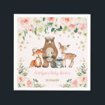 """Girl Woodland Baby Shower Forest Animals Birthday Napkin<br><div class=""""desc"""">This girly design features a group of adorable woodland animals and gorgeous blush watercolor roses  Matching items available in our store!</div>"""
