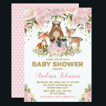 "Girl Woodland Baby Shower Forest Animals Pink Gold Invitation<br><div class=""desc"">Woodland baby shower invitation featuring pastel pink & blush watercolor peonies and a group of adorable forest animals</div>"