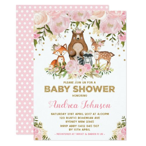Girl Woodland Baby Shower Forest Animals Pink Gold Invitation