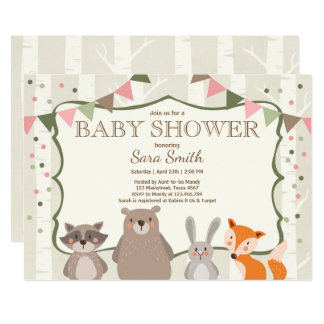 forest baby shower invitations announcements zazzle