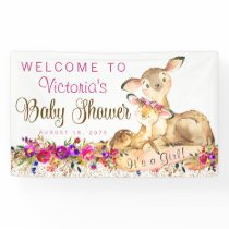 Girl Woodland Deer Baby Shower Banner