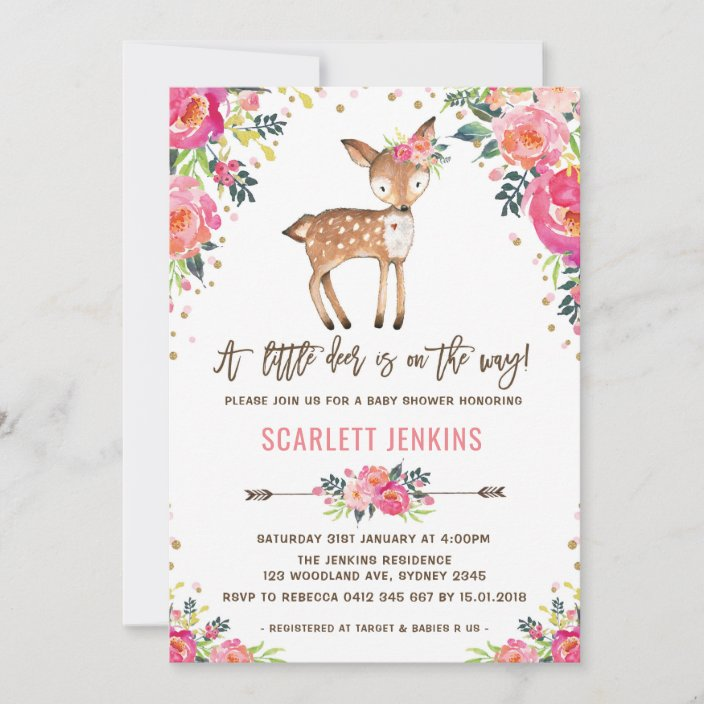 Greenery Woodland Watercolor Natural Modern Little Deer Baby Shower Invitation Pink Floral Wreath Girl Shower Invite Simple Prints