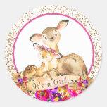 Girl Woodland Deer Baby Shower Stickers