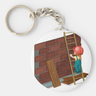 Girl working at the construction site basic round button keychain