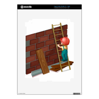 Girl working at the construction site iPad 2 decal