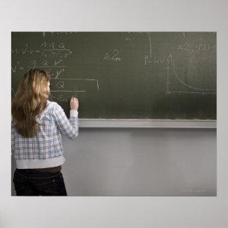 Girl writing on blackboard poster