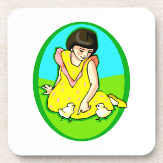 girl yellow dress two chicks oval beverage coaster