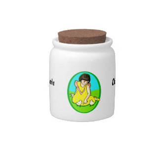 girl yellow dress two chicks oval candy jar
