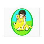 girl yellow dress two chicks oval canvas print