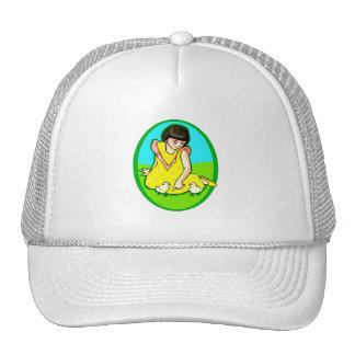 girl yellow dress two chicks oval trucker hat