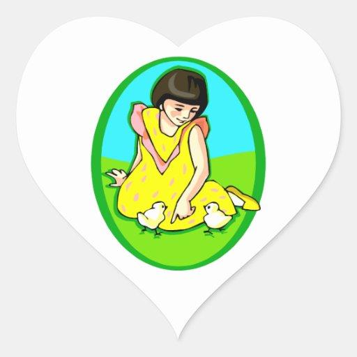girl yellow dress two chicks oval heart sticker