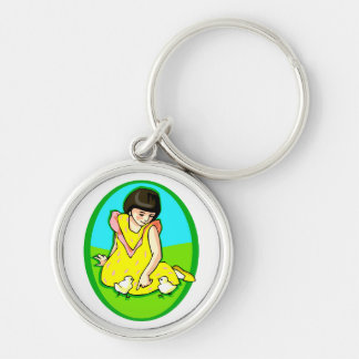 girl yellow dress two chicks oval keychain