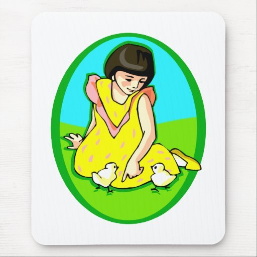 girl yellow dress two chicks oval mouse pad
