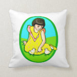 girl yellow dress two chicks oval pillow