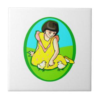 girl yellow dress two chicks oval tile