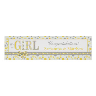 GIRL Yellow Gray Dots Baby Shower Banner Posters