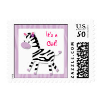 Girl Zebra Jungle It's a Girl Postage Stamps