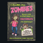 """Girl Zombie Birthday Party Invitations<br><div class=""""desc"""">Super fun Zombie birthday party invitations with three zombies,  grungy background and back. Great for a Girl's sleepover,  halloween party,  or any occasion that includes scary zombies!</div>"""