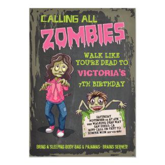 Girl Zombie Birthday Party Invitations