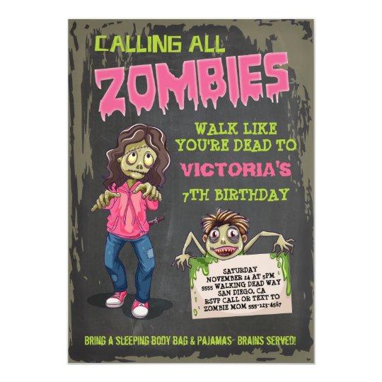 Girl Zombie Birthday Party Invitations Zazzle Com