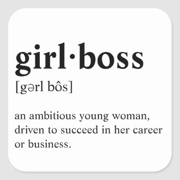 Professional Business Girlboss - Dictionary meaning Square Sticker