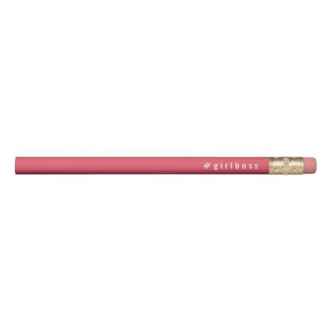 Girlboss Hashtag   Coral Pink & White Pencil