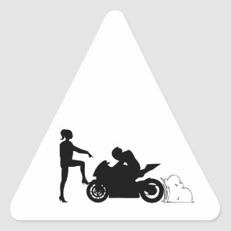 Girlfriend and motorcycle triangle sticker