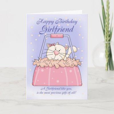 Girlfriend Birthday Card - Cute Puppy Purse Pet from Za
