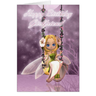 Girlfriend Birthday card with cute fairy on swing