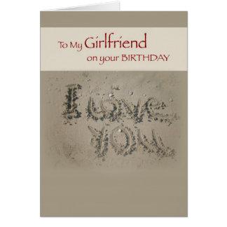 Girlfriend Birthday Love, Writing in Sand on Beach Greeting Card