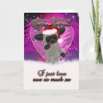 Girlfriend Christmas Card - Cute Sheep And Heart