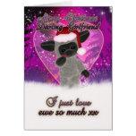 Girlfriend Christmas Card - Cute Sheep And Heart